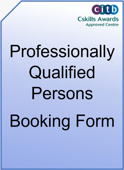 Professionally Qualified Persons Booking Form Cover