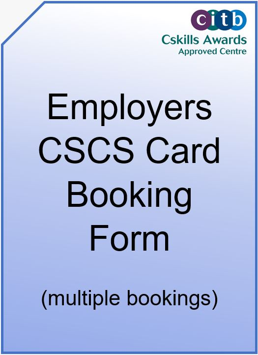Employer CSCS Card Booking Form Cover