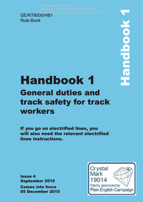Handbook 1 General duties and track safety for track workers  Cover