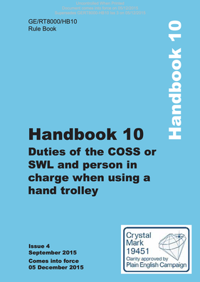Handbook 10 Duties of the COSS or SWL and person in charge when using a hand trolley  Cover