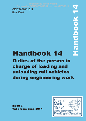 Handbook 14 Duties of the person in charge of loading and unloading rail vehicles during engineering work Cover