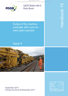 Handbook 15 Duties of the machine controller (MC) and ontrack plant operator Cover