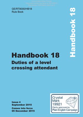 Handbook 18 Duties of a level crossing attendant Cover