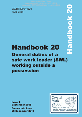 Handbook 20 Safe Work Leader Working Outside a Possession (SWL) Cover