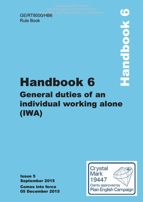 Handbook 6 General duties of an individual working alone (IWA) Cover