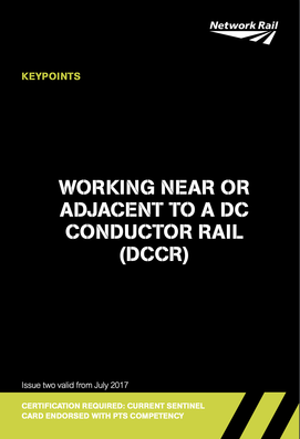 Working Near or Adjacent to Conductor Rail (DCCR) Cover