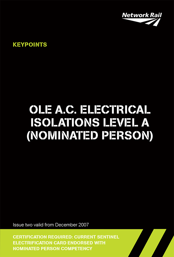 OLE A.C. Electrical Isolations Level A (Nominated Person) Cover
