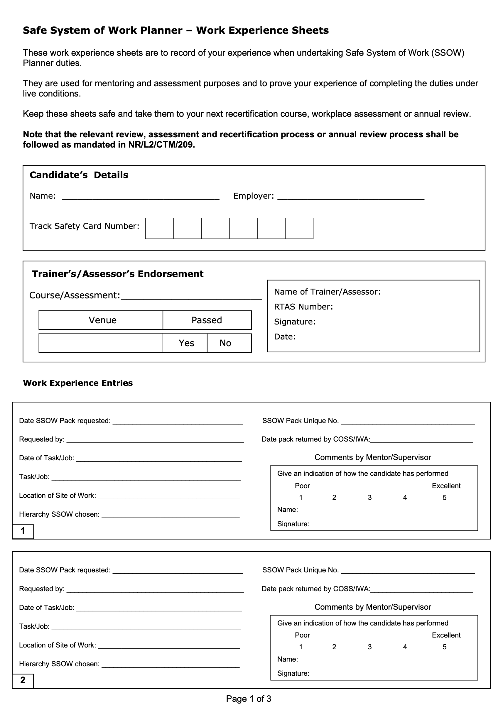 SSOW Planner Work Experience Sheets (Logbook) Cover